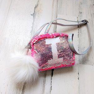 Justice Girl's Pink Initial Flip Sequin Mini Purse